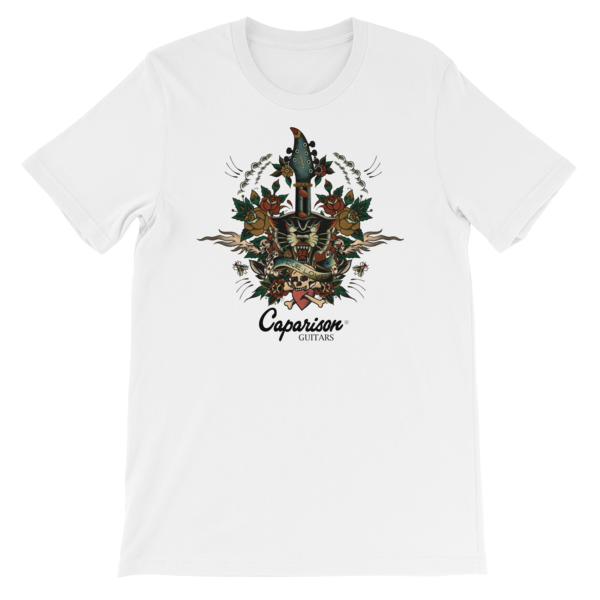Official Caparison Guitars Tattoo design T-Shirt, full colour print.