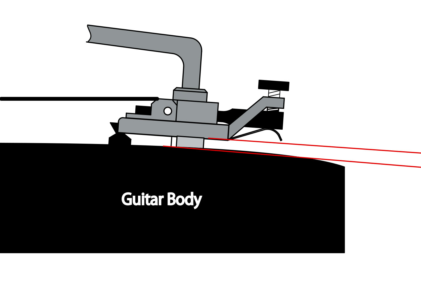 Correct Tremolo Angle for Curved Top Guitar Body
